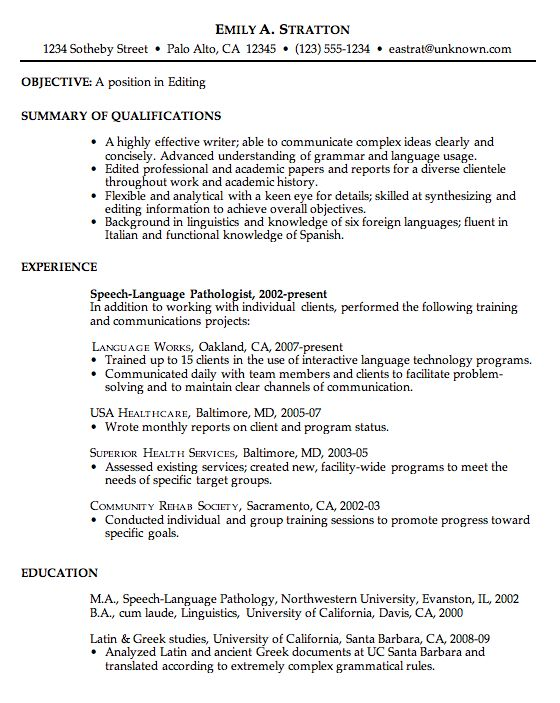Chronological Resume-This is a fairly standard layout for a - writing objective on resume
