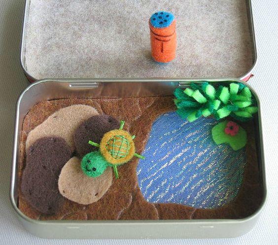 Turtle plush miniature felt play set in Altoid tin  - pond rocks play food and turtle