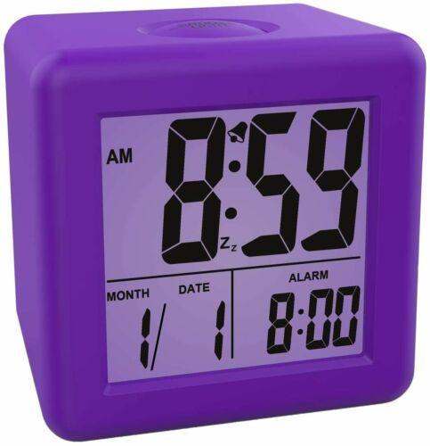 Plumeet Digital Alarm Clocks Kids Clock With Snooze And Purple Nightlight Ea In 2020 Alarm Clock Small Alarm Clock Digital Alarm Clock
