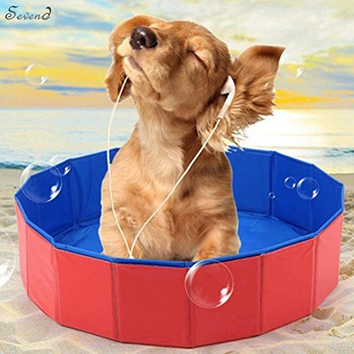 Sevend Pvc Portable Foldable Dog Cat Pet Swimming Pool Bathing Tub 31 5inch X 7 87inch Red Click On The Image For Additional Detail Dog Pool Cat Kids Dogs