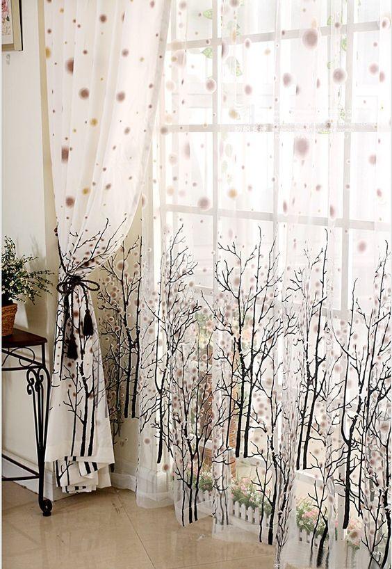 Green Curtains amazon green curtains : Amazon.com - Elleweideco Modern Tree Branch White Sheer Green/pink ...