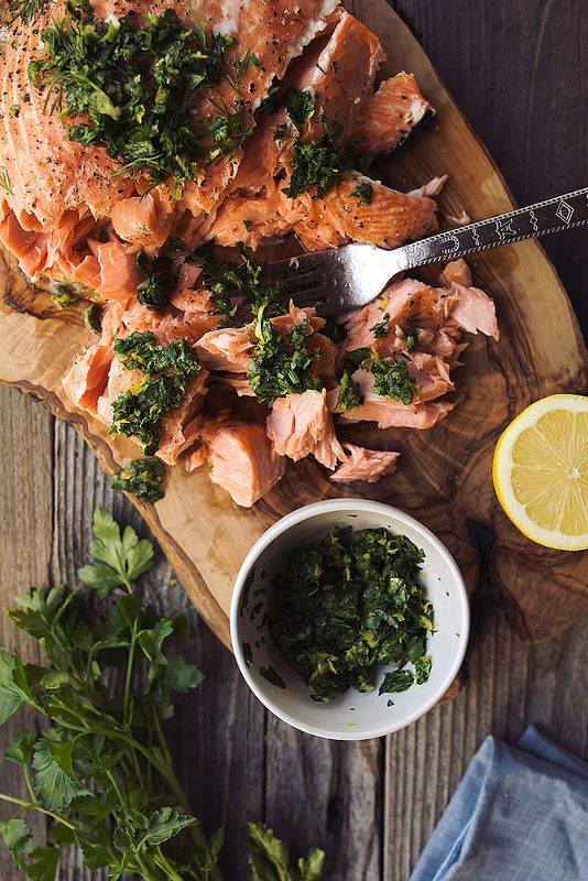 Slow Roasted Salmon with Meyer Lemon Gremolata: