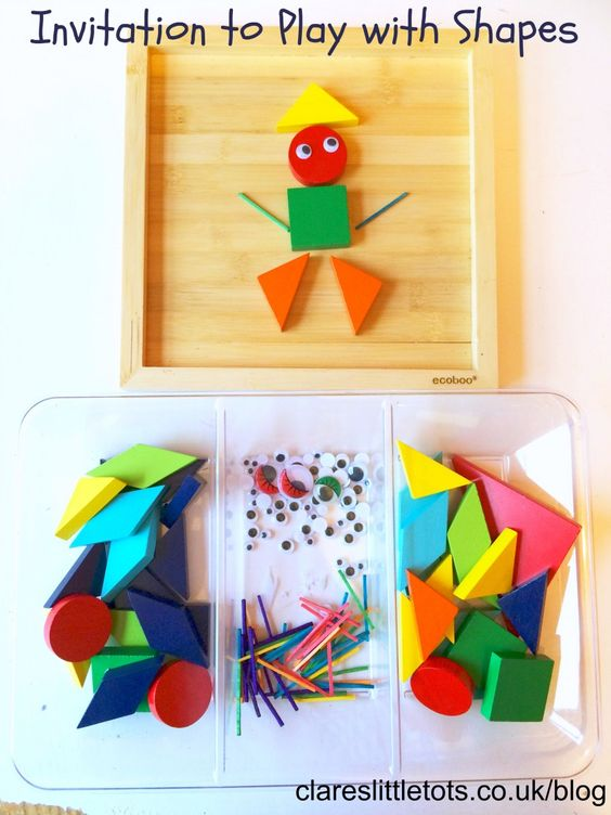 Invitation to play with shapes and loose parts. Fun learning idea for recognising shapes, colours and patterns for toddlers and preschoolers.