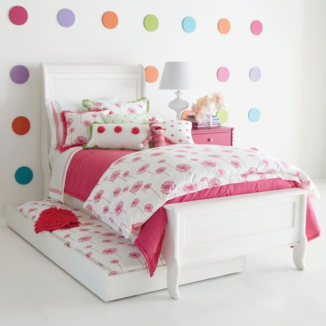 This collection is a wish come true! Dandelion globes in a pretty shade of raspberry capture the excitement of youth...and the power of daydreams soon realized. This collection promises to fill her heart-- and her room--with whimsy. The collection blends beautifully with our Kenzie bedding (shown here).