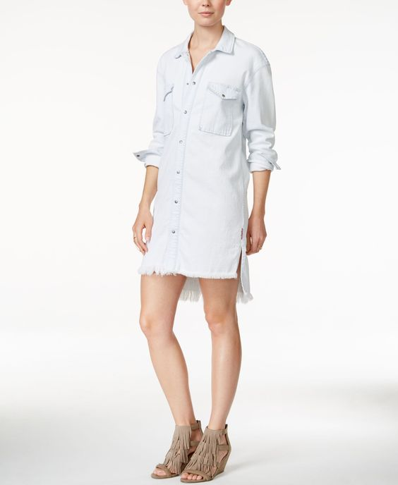 Hudson Jeans Frayed-Hem Denim Shirtdress