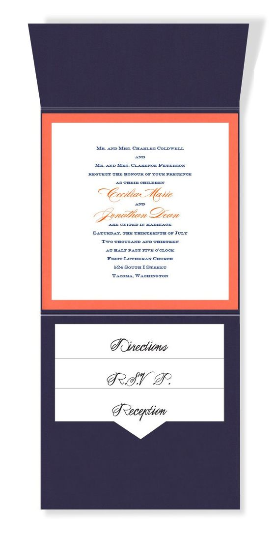 6 x 6 Vertical Folio Pocket Wedding Invitations - 2 Layers Small Border by MyGatsby.com: Vertical Folio, Orange Wedding, Navy Orange, Layers Small, Pocket Wedding Invitations, Folio Pocket, Wedding Stationery, Small Border