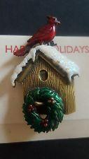 Happy Holidays NWT Christmas brooch Cardinal birdhouse /wreath. Enamel glitter