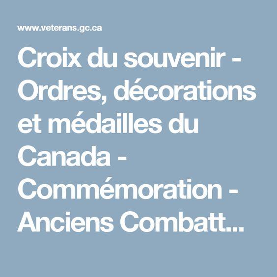 Croix du souvenir - Ordres, décorations et médailles du Canada - Commémoration - Anciens Combattants Canada