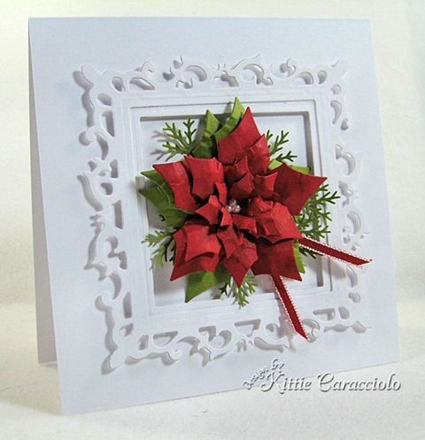 spellbinders fleur de lis square and layered poinsettia never