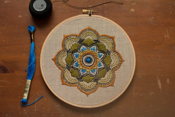 Embroidered Mandala Hoop Art. 7 inch. Handmade. Home Decor. CUSTOMIZE YOUR COLORS. Made to order.