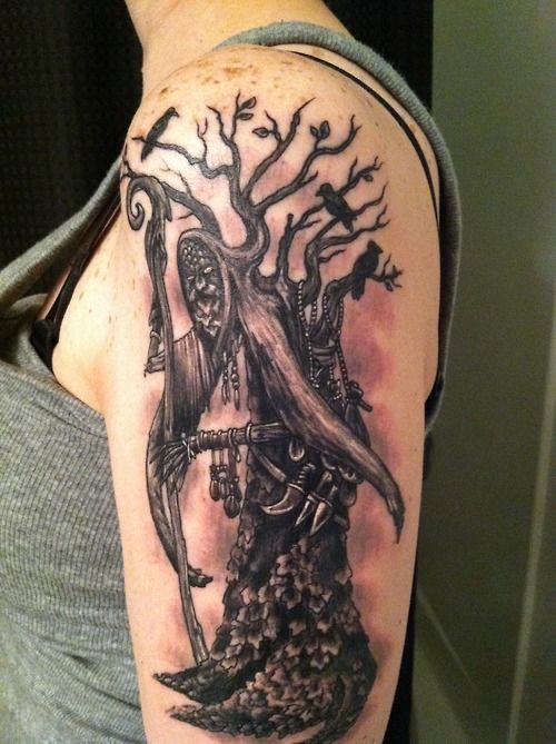 """""""This is my Druid Oakling. A Druid that wanders the forest. I love it. It goes really good with my Druid Greenman tattoo I got the month before. My tattoos are all representative of my new look at life. My mom just died of Cancer and I knew I needed to heal myself. I'm Tricia Westvig, I got this and all of my other tattoos at The Golden Dragon Tattoo Shop in Henderson, Nevada, by Jeremy Day. He's great!!!"""""""