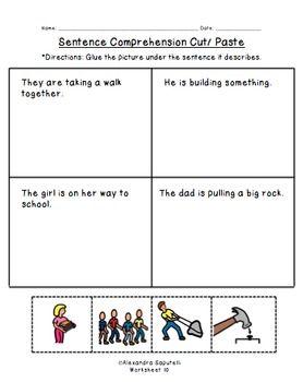Worksheet Sentence Comprehension Worksheets comprehension sentences and worksheets on pinterest sentence cut paste worksheets