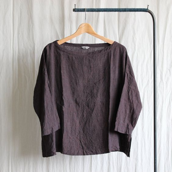 Boat Neck Shirt #brown/linen chambray