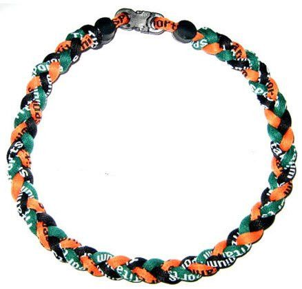 "Baseball Tornado Titanium Sports Necklace 18"" Orange/Green/Black"