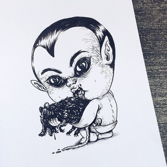"""Baby Terrors"" – an Adorable Series Re-Imagining Famous Horror Characters as Babies by Alex Solis , http://itcolossal.com/baby-terrors/"