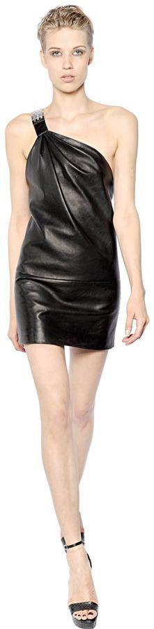 One Shoulder Nappa Leather Dress, schwarz, black, Leder Outfits, Ledermode, Leather, Fashion, Dress