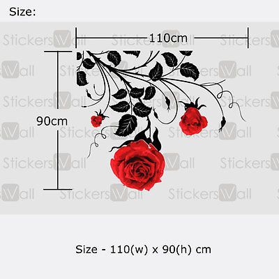Details About Large Flower Roses Vines Vinyl Wall Art Stickers