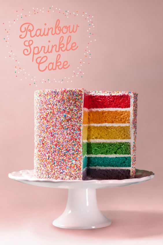 Rainbow Sprinkle Cake - such perfect layers!