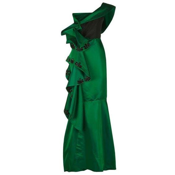 Johanna Ortiz Bertha Of Kent Dress (€3.105) ❤ liked on Polyvore featuring dresses, green ruffle dress, green satin dress, ruffled dresses, embellished dress and green dress