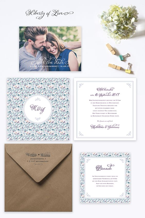 """Wedding invitation """"Liberty of Love"""" by Bonjour Paper #wedding invite #liberty #wedding papeterie"""
