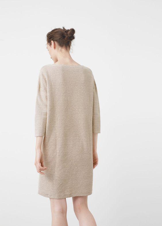 Getextureerde katoenen jurk | MANGO