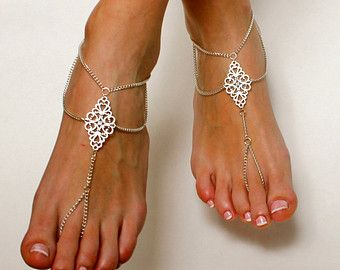 Soft Rose Pearl Bridal Barefoot Sandals. Stunningly simple, yet beautiful design which elongates your feet. Perfect accessory on your special day. When designing these barefoot sandals, I used very delicately colored blush rose pearls, silver plated chain, adjustable closure and a lobster clasp on the back. These sandals are perfect for brides and their wedding party. They are classic and wonderfully bring attention to your feet. Less is more was the inspiration for these sandals. When…