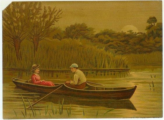 Antique Chromolithograph Vintage 1880s Victorian Print Couple in Canoe 1880s by SandyCreekCollectables,