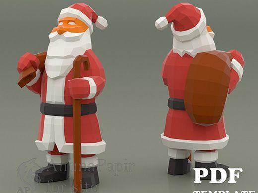 Santa Claus Papercraft Low Poly Santa Paper Santa Character Papercraft Low Poly Character Paper Character Paper Crafts Santa Claus Crafts Low Poly