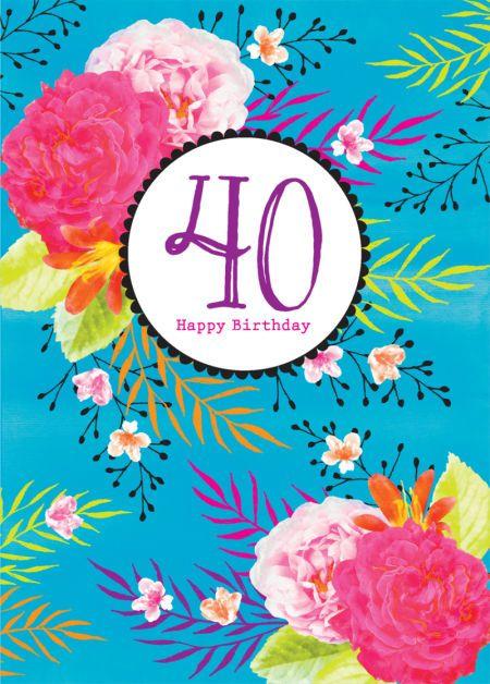 Debbie Edwards - Female Birthday Milestone Age Birthday Big Number Bright Floral Flowers On Aqua Background