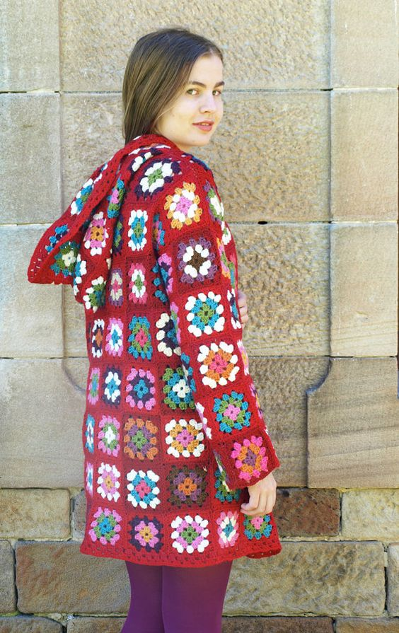Hooded Crochet Granny Square Jacket Pattern S M L ...