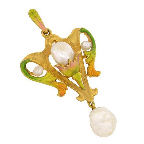 Art Nouveau 14kt Natural Pearl & Enamel Lavalier Pendant