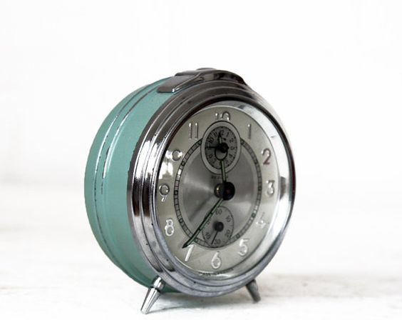 Vintage French BAYARD  almond green Alarm clock  by RueDesLouves, $65.00