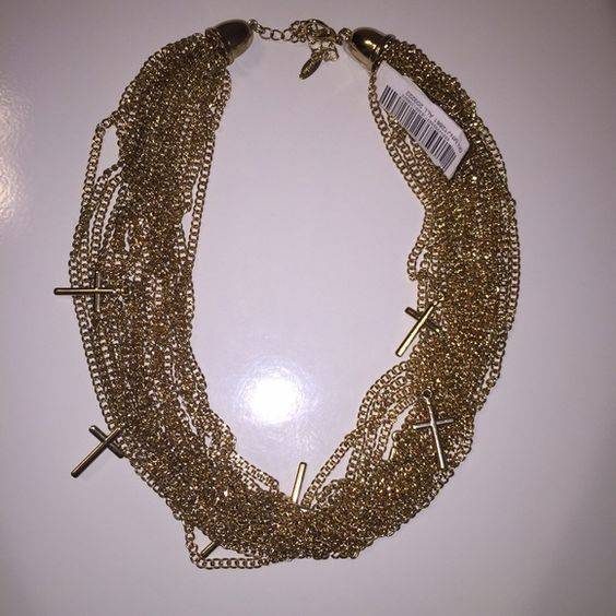 Gold cross chain necklace ntw Gold cross chain necklace ntw never been worn beautiful Jewelry Necklaces