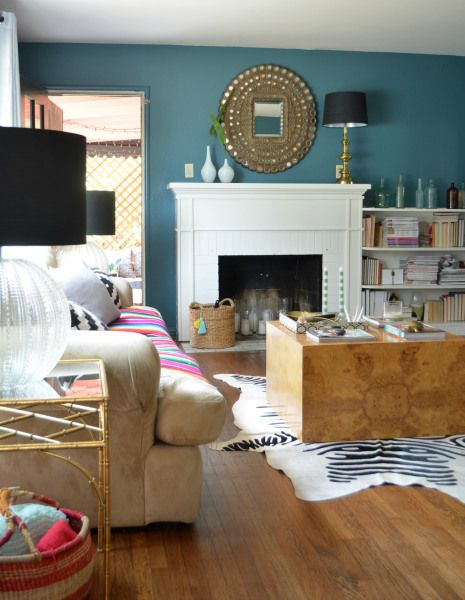 Behr sophisticated teal wall color via sg style living Sophisticated paint colors for living room
