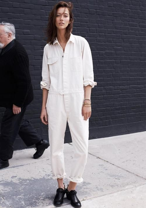 All white, overalls, jumpsuit.