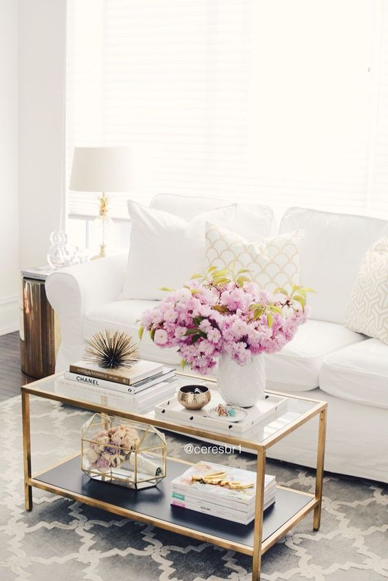 Living room, coffee table styling, white and gold, @homegoods accessories, @ikea erktop sofa: