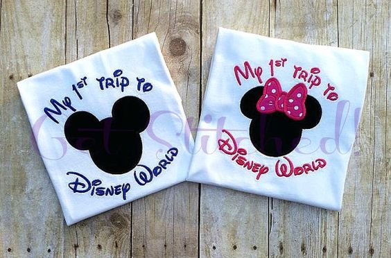 Embroidered First trip to Disney World shirt Minnie by hullmommy