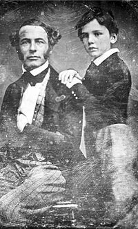 """Robert Edward Lee, around age 38, and his son William Henry Fitzhugh Lee, around age 8, c.1845. Growing up, Robert said of his son """"too large to be a man, too small to be a horse.""""During the American Civil War, William served as a commander of cavalry in his father's army of Northern Virginia. Wounded at Brandy Station he was then captured at his wife's house at Hickory Hill. """"Rooney"""" was eventually exchanged and he would surrender with his father at Appomattox Courthouse in April of 1865."""