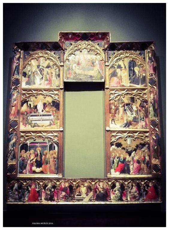 """Museo de Bellas Artes de Bilbao. Retablo de """"Los siete Gozos de la Virgen María"""" 1398. Bilbao Fine Arts Museum. Altarpiece of """"The Seven Joys of the Virgin Mary"""" 1398."""
