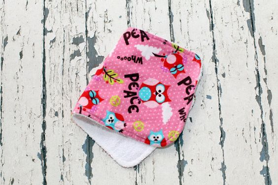 So sweet!! Baby Girl Burp Cloth Peace Owl Polka Dot by MooseBabyCreations, $4.50
