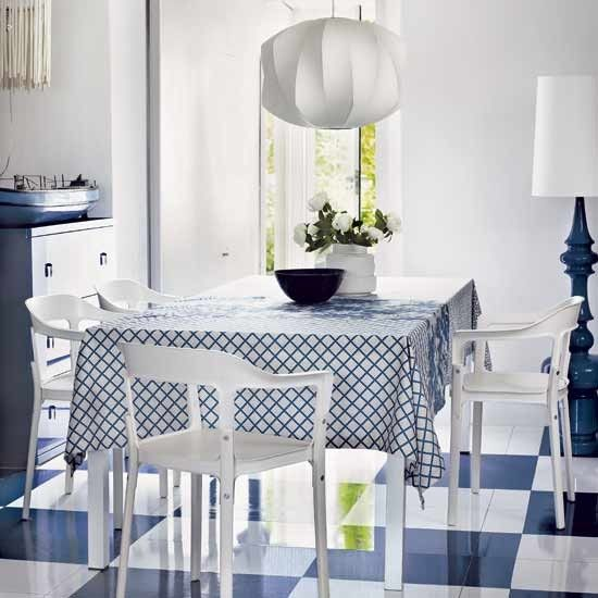 Mix flooring and textiles in bold colours | Design ideas: decorating with blue and white | housetohome.co.uk