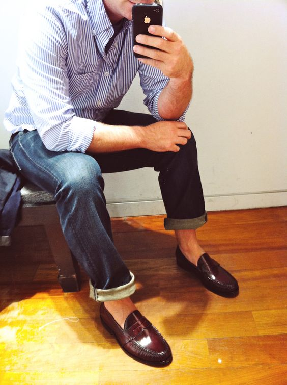 A simple striped J.Crew button-down... and a fun perry of penny loafers. See more on the blog, http://www.fashables.com/mens-fashion-two-summer-favorites.