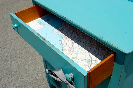 I wanna do this ... line an inside f a dresser (drawer) with an old map