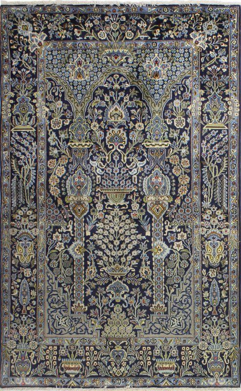 829 99 5x8 With 1 Pile Height Kashan Hand Knotted Wool Dark Blue Area Rug Rugs Area Rugs Blue Area