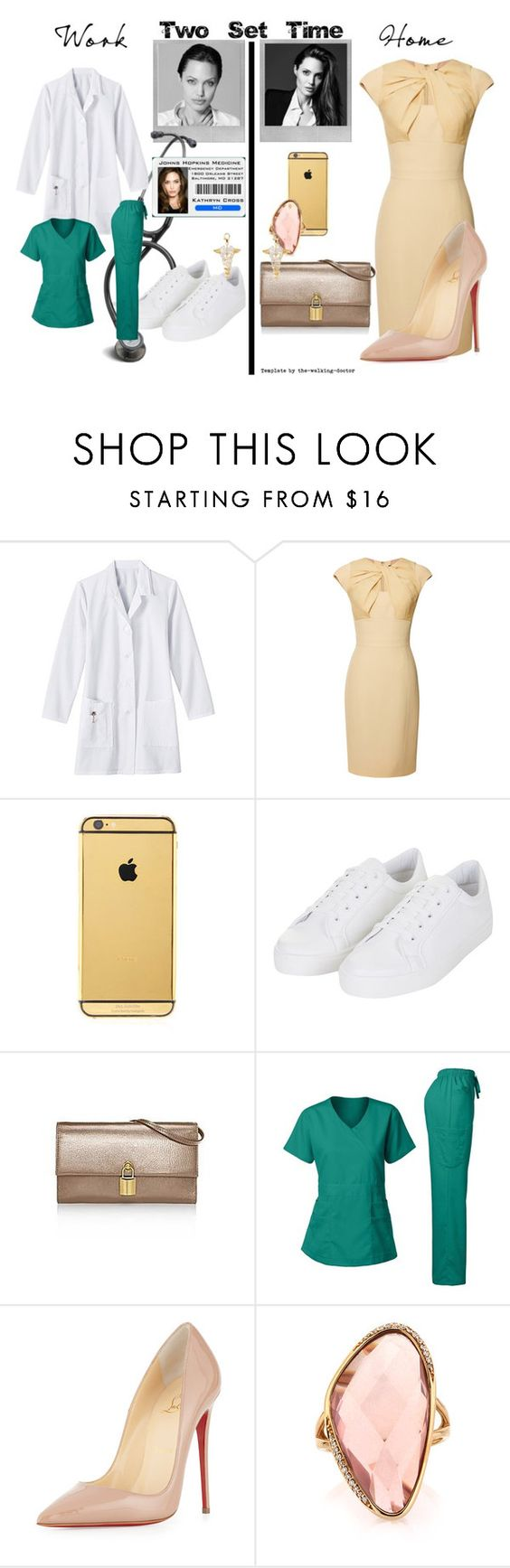 """Set #1618 - Kit at Work and Home"" by the-walking-doctor on Polyvore featuring ANGELINA, Elie Saab, Goldgenie, Topshop, Christian Louboutin, Mark Broumand and Polaroid"