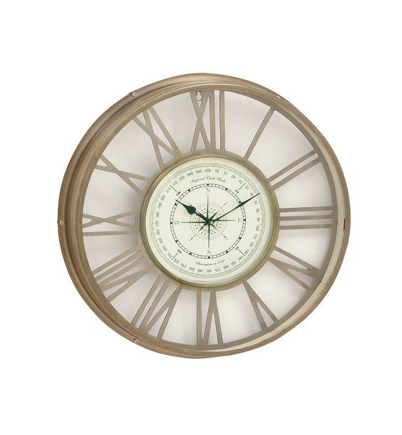 "21"" Brass Colored Metal Wall Clock Compass Look Nautical Ocean Decor"