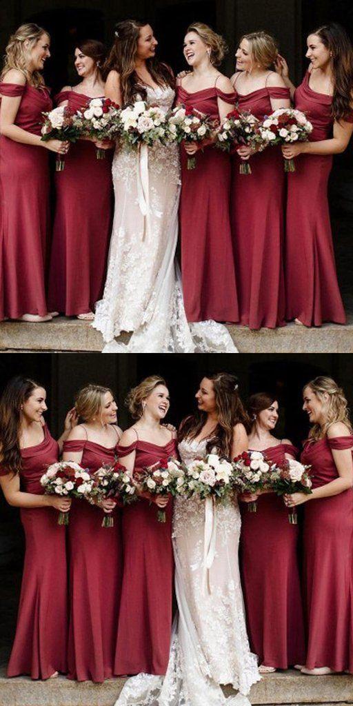 A Line Off Shoulder Burgundy Long Bridesmaid Dresses Online Vpwg238 Veryp Mermaid Bridesmaid Dresses Inexpensive Bridesmaid Dresses Bridesmaid Dresses Online