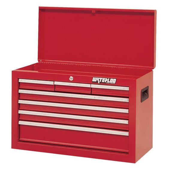 Waterloo Shop Series 26 in. Red 7 Drawer Chest - SCH-267RD-F