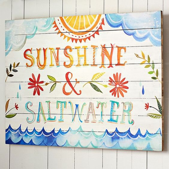 "PB Teen Katie Daisy ""Sunshine + Salt Water"" Watercolor Surf Art at... ($129) ❤ liked on Polyvore featuring home, home decor, wall art, multi, sea home decor, sun wall art, wood wall art, surf home decor and wooden wall art:"
