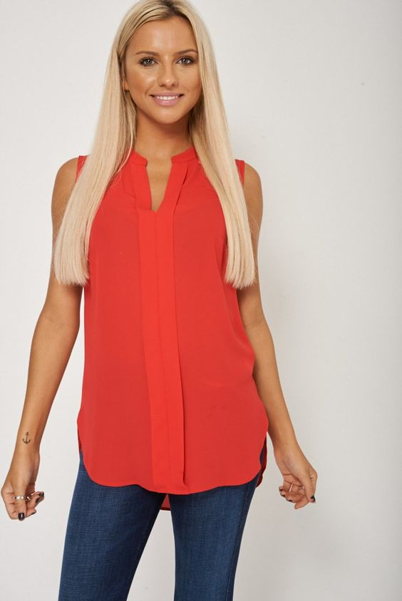 Sleeveless Sheer Deep Coral Blouse Ex-Branded